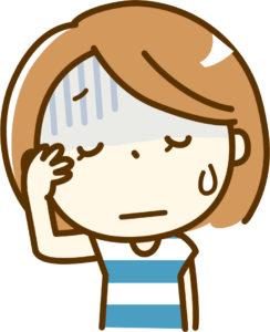 頭痛で辛い思いをしている女性のイラスト