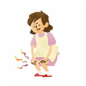両膝に痛みがある女性のイラスト